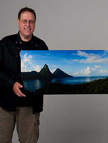 Scott Kelby holding his St. Lucia gallery wrap pano from Artistic Photo Canvas